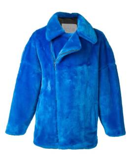 Kye blue faux fur jacket as seen on Rihanna