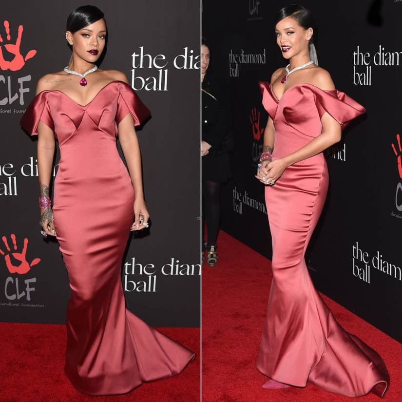 Rihanna at the 2014 Diamond Ball wearing Zac Posen Fall 2014 off shoulder mermaid dress, Chopard rubellite diamond necklace, Chopard rubellite pear-shaped ring and ruby cuff, Manolo Blahnik dark pink BB pumps