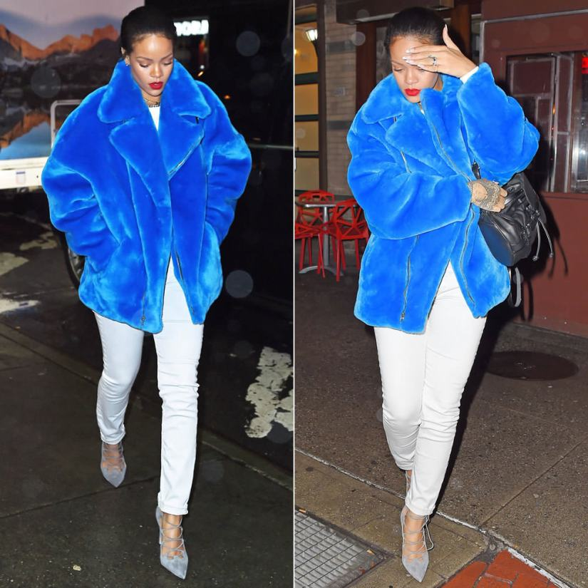 Rihanna wearing Kye Fall 2014 blue faux fur jacket, Isabel Marant Etoile white jeans, Manolo Blahnik grey suede lace-up pumps, Diesel Karola leather backpack