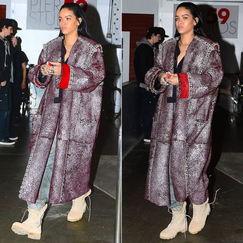 Rihanna wearing army jungle combat boots with panama sole
