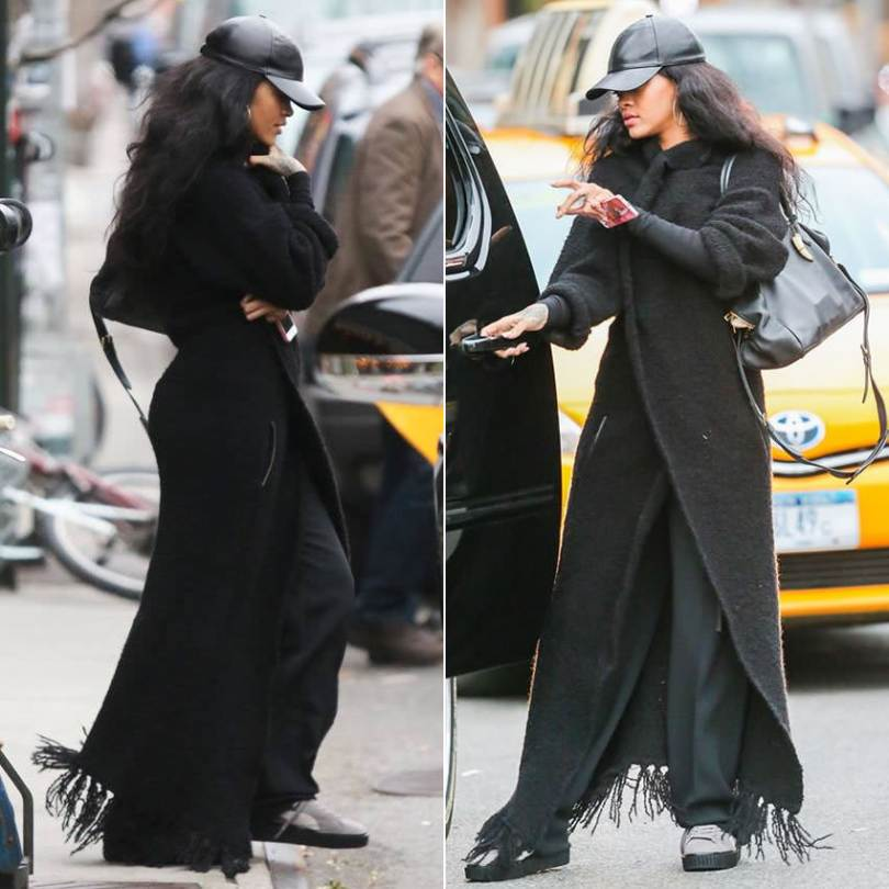 Rihanna in Zadig and Voltaire fringed knit coat, Vianel leather cap, Mr Completely Puma creepers