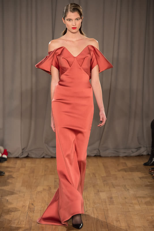Zac Posen Fall/Winter 2014 off-the-shoulder dress as seen on Rihanna at the Diamond Ball