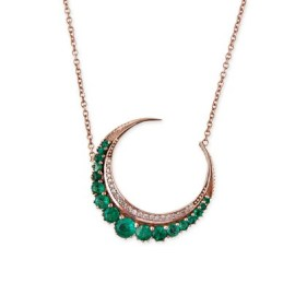 Jacquie Aiche emerald crescent necklace as seen on Rihanna