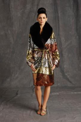Moschino Pre-Fall 2015 sequined coat with fur collar as seen on Rihanna