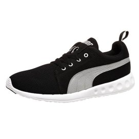 Puma Carson running shoes in black/puma silver as seen on Rihanna
