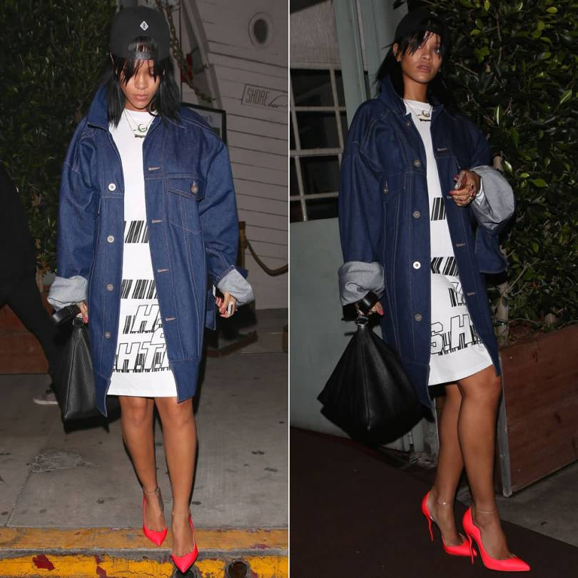 Rihanna wearing Pigalle snabpack cap, Matthew Dolan Spring 2015 oversized denim jacket, ASSK Fall 2014 white unisex survive or die shirt, Givenchy large pyramid pouch, Christian Louboutin Spring 2015 d'Orsay mirage heel pumps, Jacquie Aiche jewelry