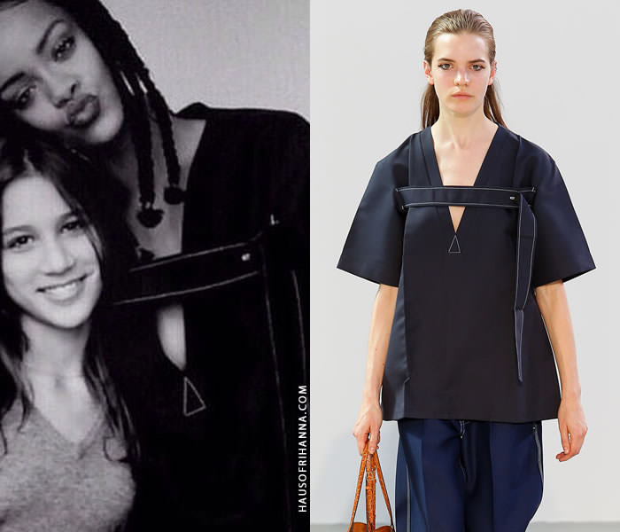 Rihanna wearing Celine Spring 2015 boxy black top with v-neck