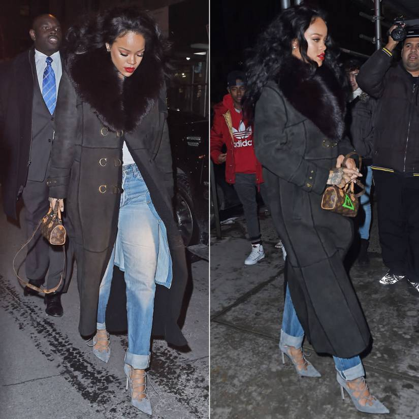 Rihanna wearing Christian Dior black vintage coat with fur collar, Manolo Blahnik suede lace-up pumps, Louis Vuitton mini hl monogram handbag, 6397 cowboy denim coat
