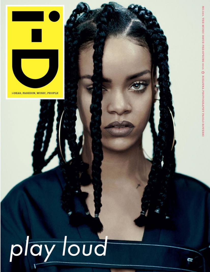 Rihanna wearing Céline Spring 2015 on the cover of i-D magazine's music issue