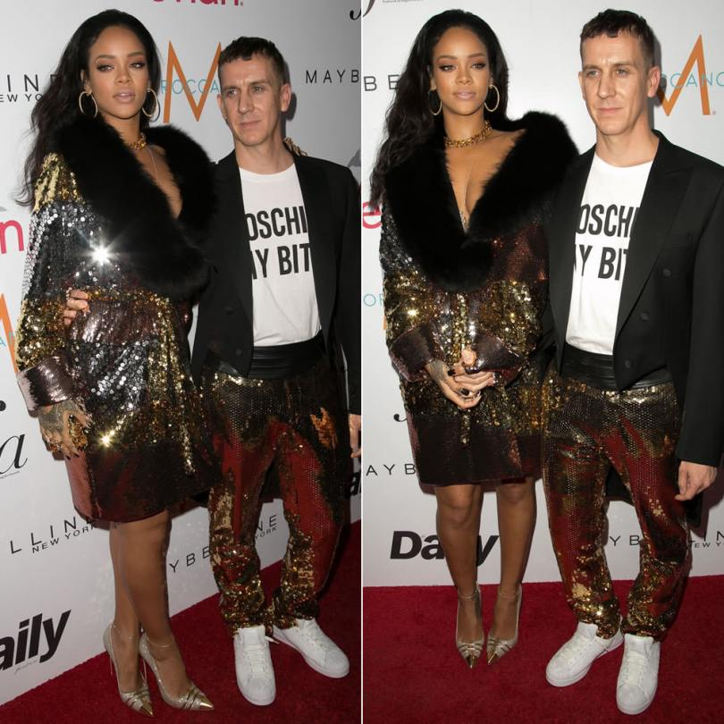 Rihanna wearing Moschino Pre-Fall 2015 sequined coat with black fur collar and Christian Louboutin Front Double glitter pumps
