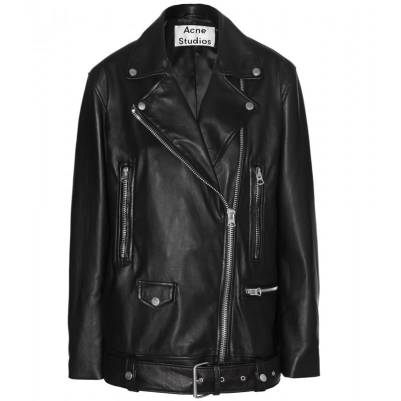 Acne Studios 'More' oversized leather jacket as seen on Rihanna