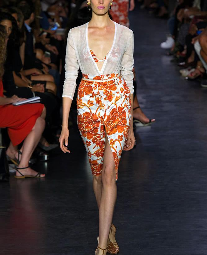 Altuzarra Spring/Summer 2015 Jacopo cardigan and Balthazar floral print skirt as seen on Rihanna