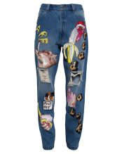 Ashish sequined boyfriend jeans as seen on Rihanna