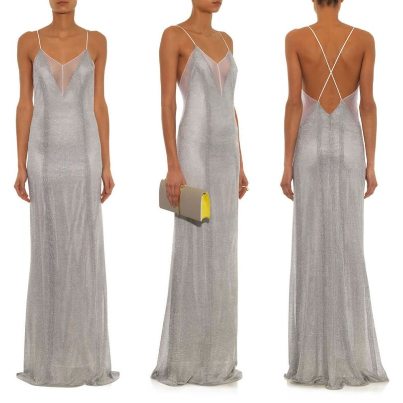 Galvan Spring 2015 silver metallic chainmail mesh slip dress as seen on Rihanna