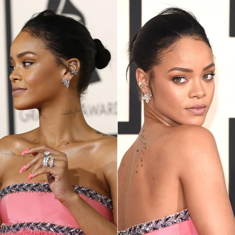 Rihanna wearing Colette Savute and Baby Garras ear cuffs and Chopard earrings and rings at the 57th Grammy Awards
