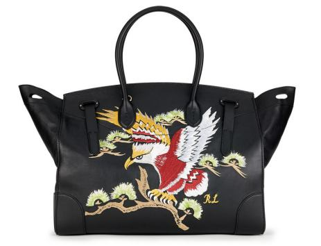 Ralph Lauren embroidered Soft Ricky 40 satchel as seen on Rihanna