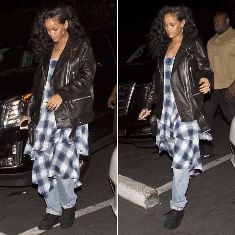 Rihanna wearing Jacquie Aiche 10 diamond hoop earrings, Acne Studios More oversized leather jacket, GVGV Spring 2015 checkered plaid tiered cami dress, Mr Completely custom Puma Suede Classic black creepers