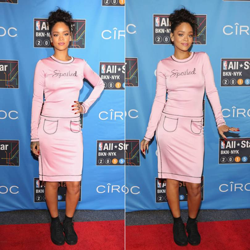 Rihanna at NBA All Star Weekend wearing Adam Selman Fall 2015 pink spoiled top and skirt, Puma x Mr Completely suede creepers