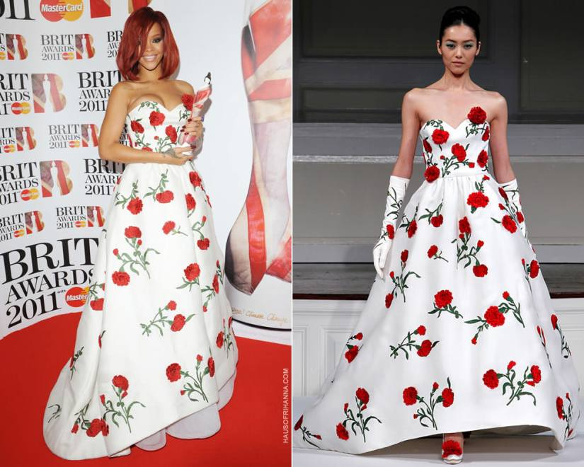 Rihanna at the 2011 Brit Awards wearing Oscar de la Renta Spring 2011 white floral dress