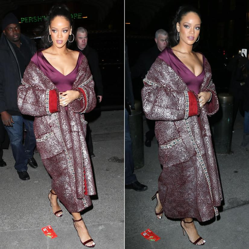 Rihanna wearing Chanel pre-fall 2015 coat, Zac Posen dress, Manolo Blahnik Chaos sandals