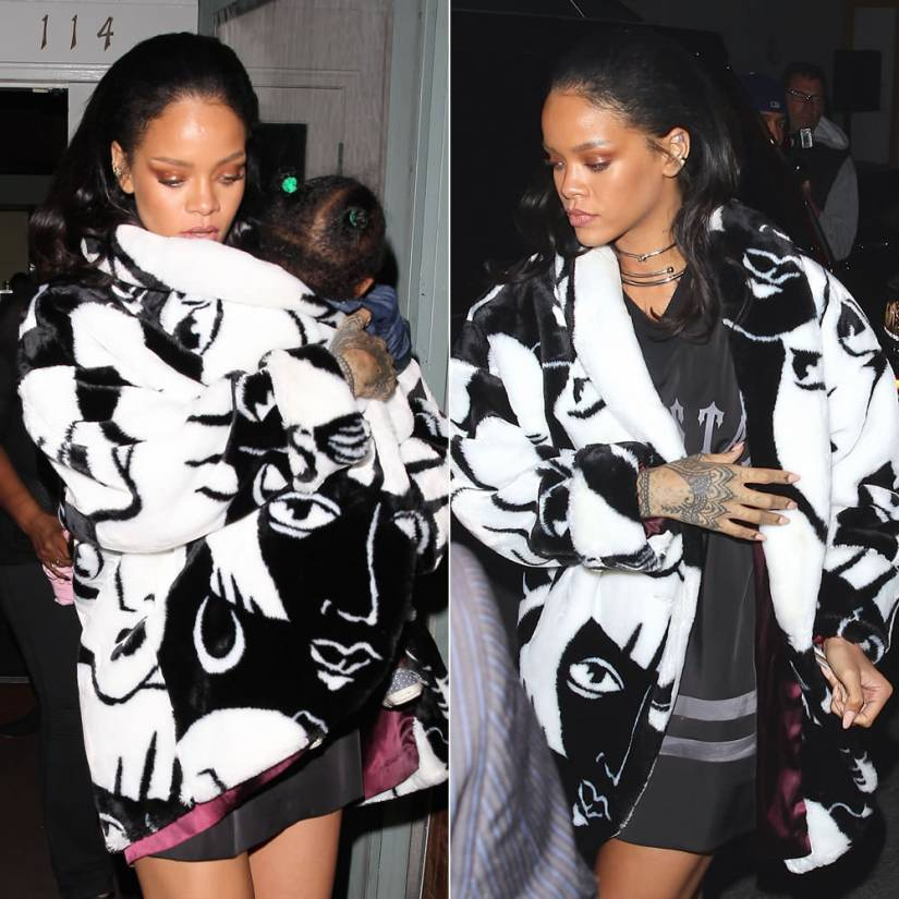 Rihanna wearing Donnybrook faces print fur coat, Trapstar satin hockey t-shirt, Jennifer Fisher silver chokers