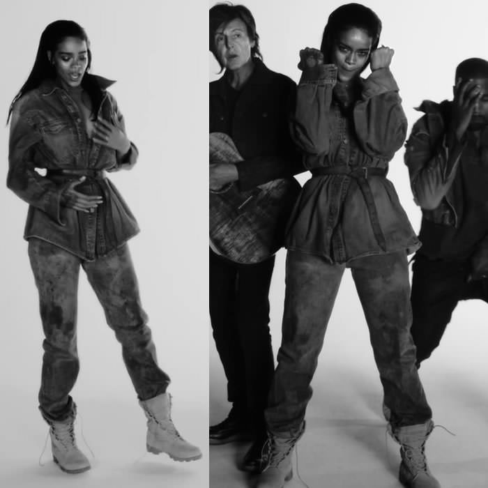 Rihanna wearing vintage Sean John denim jacket, vintage jeans and Wellco jungle combat boots in FourFiveSeconds music video