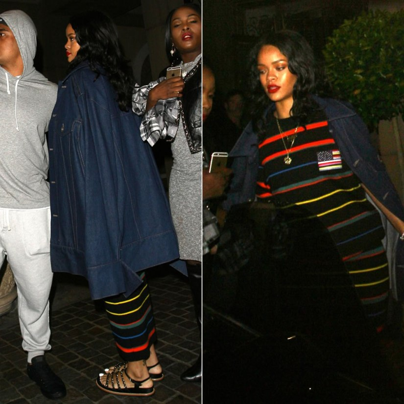 Rihanna wearing Matthew Dolan Spring 2015 oversized denim jacket, Givenchy striped knit tee and striped long skirt, Chanel chain-embellished sandals