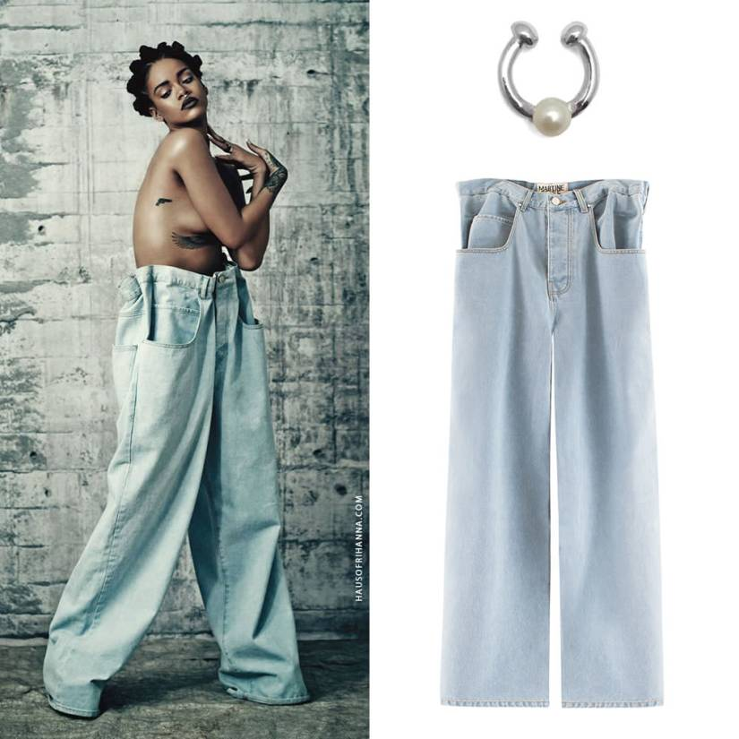 Rihanna in i-D magazine 2015 music issue wearing Chris Habana single pearl septum cuff and Martine Rose baggy jeans