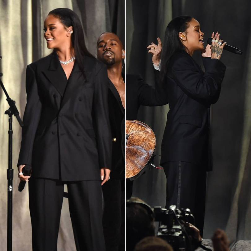 Rihanna wearing Maison Margiela by John Galliano Spring 2015 couture during Grammy Awards performance