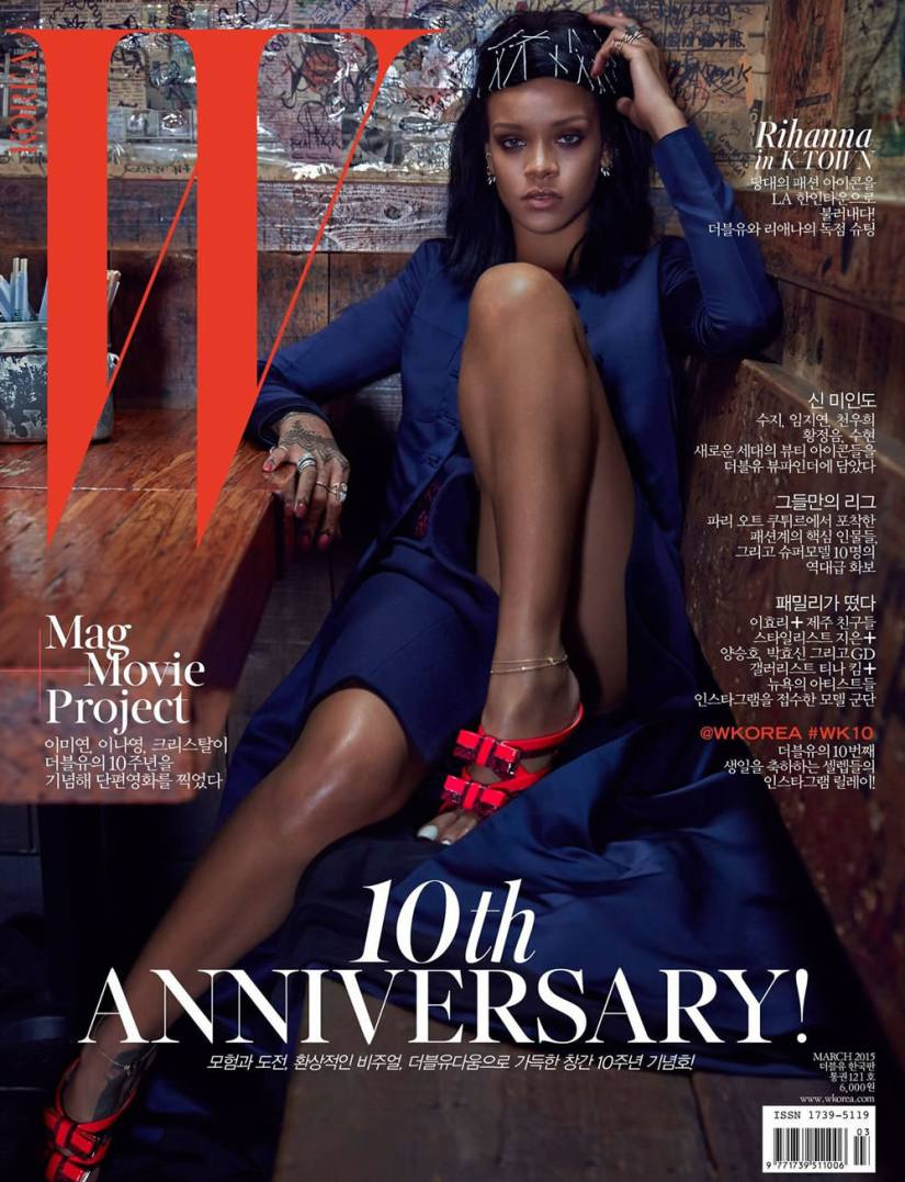 Rihanna on W Korea magazine March cover wearing Dior blue coat, Nicholas Kirkwood Resort 2015 bow mule sandals, Jacquie Aiche anklets