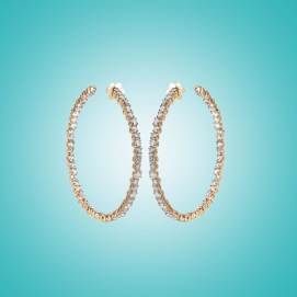 Suzanne Kalan champagne diamond hoop earrings as seen on Rihanna