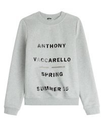Anthony Vaccarello printed grey sweatshirt as seen on Rihanna