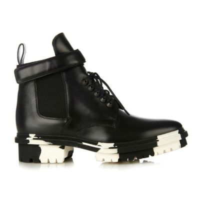 Balenciaga Unit ankle boots with black and white marbled sole as seen on Rihanna
