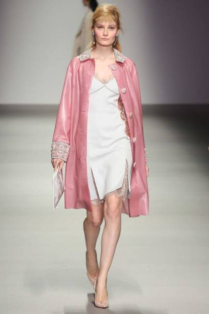 Holly Fulton Fall 2015 embellished pink latex coat as seen on Rihanna