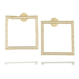 Lynn Ban 14k yellow gold and white diamond square earrings as seen on Rihanna