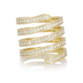 Lynn Ban 14k yellow gold and white diamond coil ring as seen on Rihanna