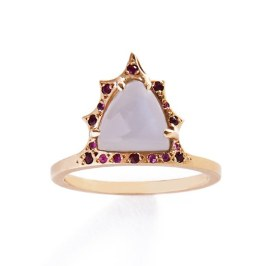 Michelle Fantaci Queen moonstone, ruby and sapphire ring as seen on Rihanna