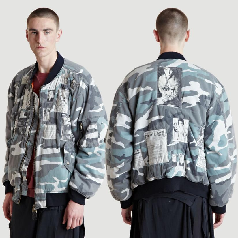 Raf Simons Autumn/Winter 2001 camo bomber jacket with patches as seen on Rihanna