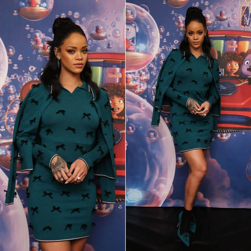 Rihanna wearing Adam Selman Fall 2015 green mini dress and cardigan with black bow embellishment, Manolo Blahnik for Adam Selman green suede pumps, Delfina Delettrez pearl and topaz ring, Yossi Harari Lilah tsavorite hoop earrings, Jemma Wynne ear cuffs