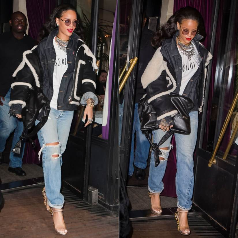 Rihanna wearing Dylanlex rings and Falkor III necklace, Jennifer Fisher knot choker, Brashy Couture white Seriously t-shirt, Levi's Commuter denim jacket, Dsquared2 Virginia crystal-embellished sandals, Chanel black girl bag,