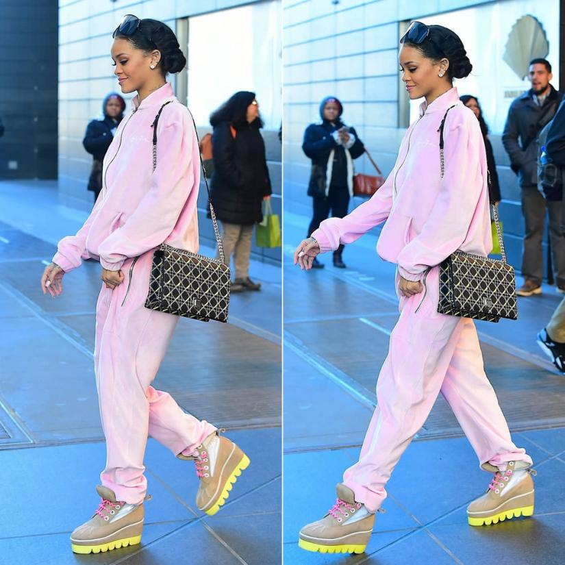 Rihanna wearing Sean John pink velour tracksuit, Dior Diorama handbag, DEGEN Antibody brown boots with yellow sole and pink laces, Givenchy Seventeen shield sunglasses