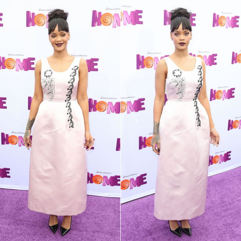 Rihanna at Home movie screening in Los Angeles wearing Dior pink beaded dress and black pumps, Neil Lane diamond earrings and bracelet