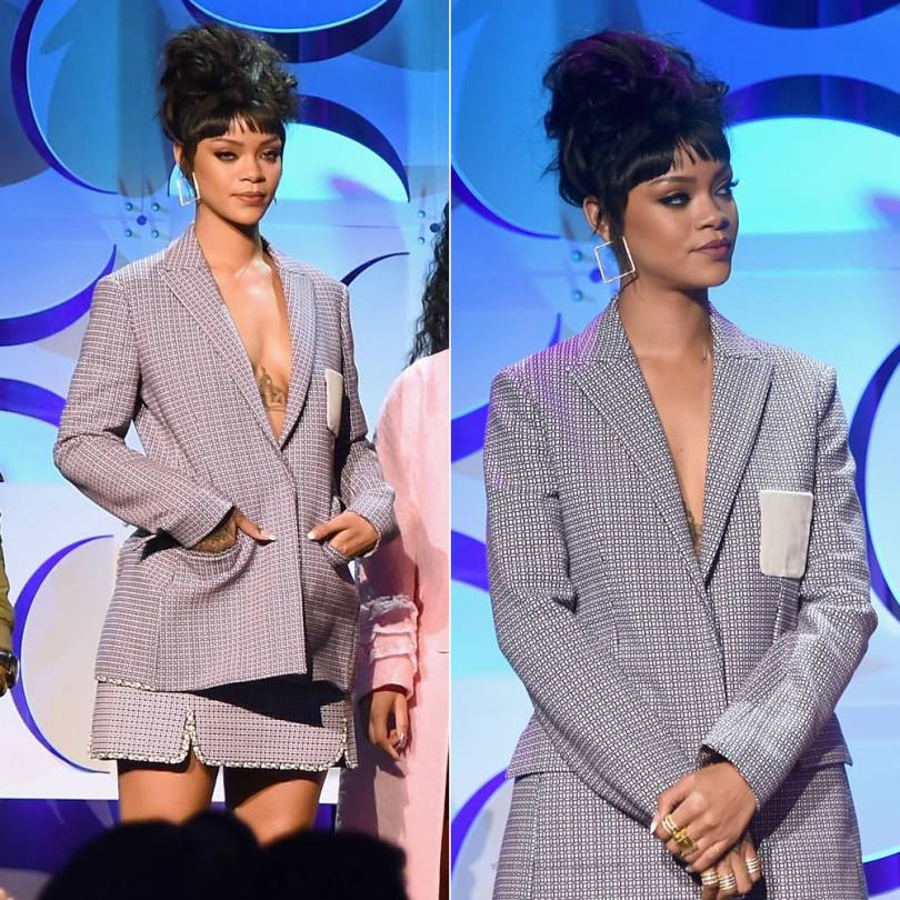 Rihanna at Tidal press conference wearing Dior Spring/Summer 2015 patterned skirt suit and boots with Lynn Ban yellow gold and white diamond square earrings, Reverso convertible ring, coil rings and circuit rings