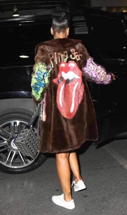 Rihanna I Love DIY by Panida hand-painted fur coat