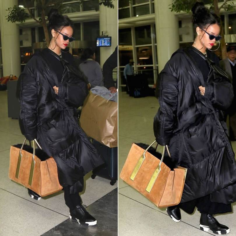 Rihanna wearing Jessica Walsh black puffer coat, Balenciaga Unit ankle boots, Adam Selman x Le Specs The Last Lolita sunglasses, Dsquared2 Spring 2015 suede shopping tote