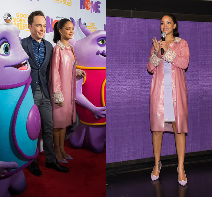 Rihanna at Home movie screening in Texas wearing Holly Fulton Fall 2015 pink latex coat and purple embroidered dress, Christian Louboutin for Holly Fulton lilac suede pumps, Fallon graduated pear necklace, Xiao Wang galaxy ring