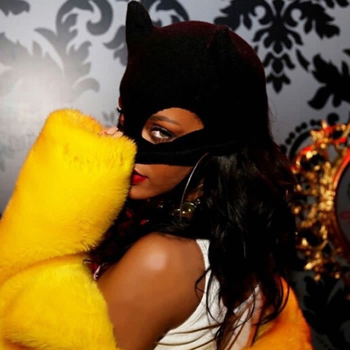 Rihanna wearing Silver Spoon Attire black cashmere cat ears beanie mask