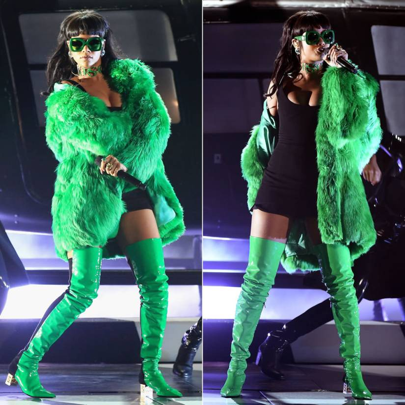 Rihanna at iHeartRadio Music Awards wearing Versace Fall 2015 green fur coat, sunglasses, choker and thigh high boots and a custom Adam Selman black tank dress, David Webb earrings and rings