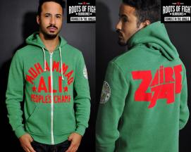 Roots of Fight Ali Rumble Anniversary Zaire 74 green hoodie as seen on Rihanna