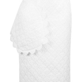 Simone Rocha white brocade pencil skirt with scalloped trim as seen on Rihanna